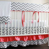 Coral and Gray Bumperless Crib Rail Bedding Set.  Other colors available.