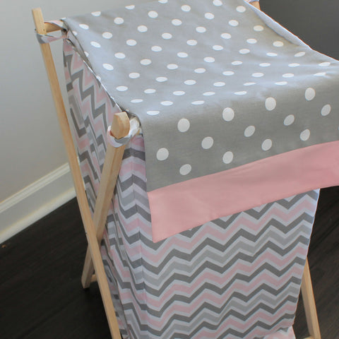Pink Gray Chevron Custom Nursery Hamper Cover