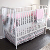 Pink and Gray Chevron  Crib baby bedding set