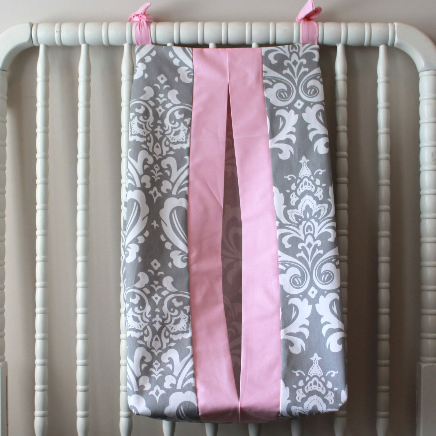 Pink Gray Damask Custom Made Diaper Stacker. Other color options available.