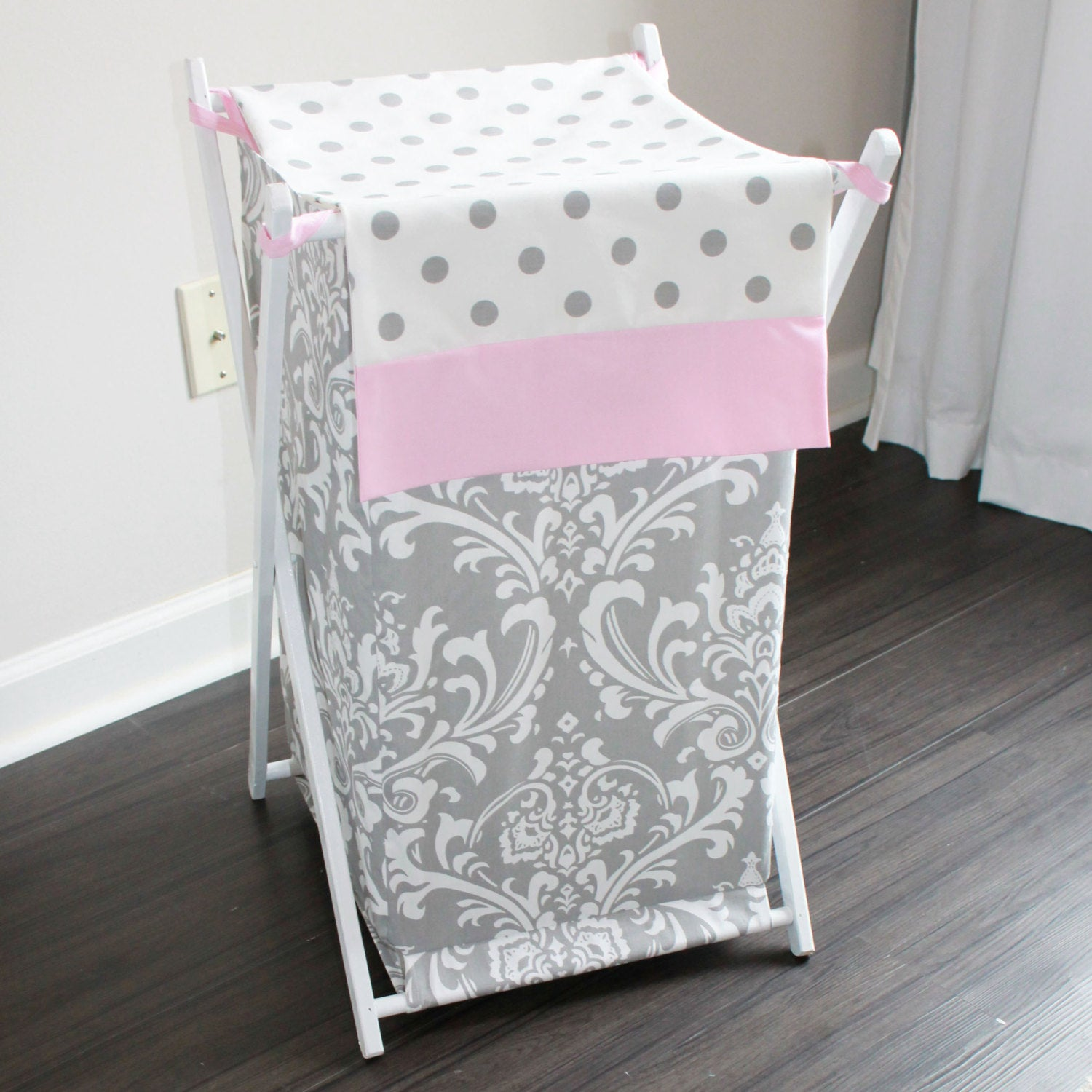 Pink Gray Damask Custom Nursery Hamper Cover