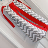 Gray Chevron with accent red Diaper Stacker. Other colors available.