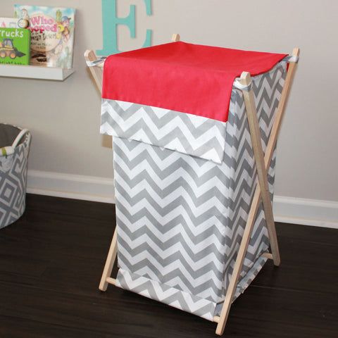 Custom Gray Chevron Nursery Hamper Cover.  Choose your color.
