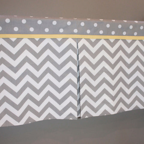 Custom Gray chevron Box Pleat Valance. You pick accent color.