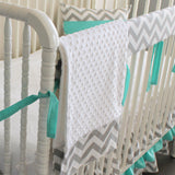 Custom Crib bedding. Gray Chevron Aqua blue Bumperless Crib Rail Bedding Set