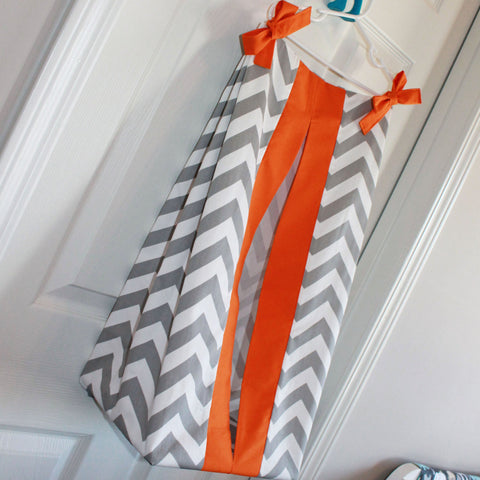 Gray Chevron with accent Orange Diaper Stacker. Other colors available.