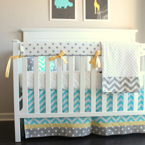 Chevron aqua and yellow bumperless crib rail bedding collection.