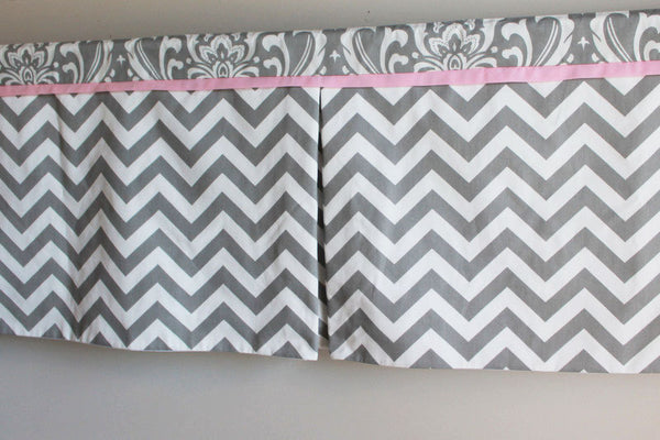 Gray Chevron Damask with Accent pink Box pleat valance