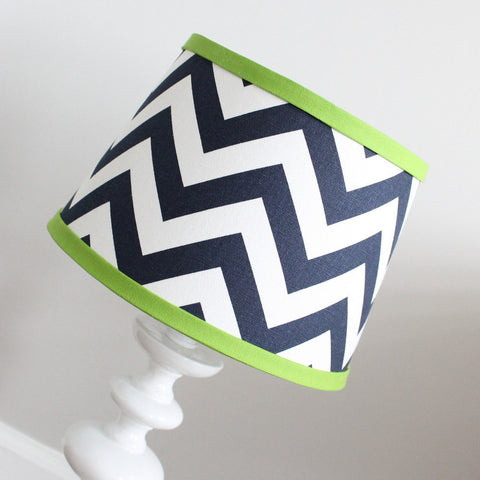 Navy Blue & Green Chevron lamp shade