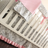 Gray & Pink Damask Crib Rail Bedding set.