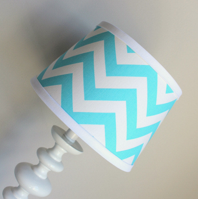 Aqua blue & white lamp shade