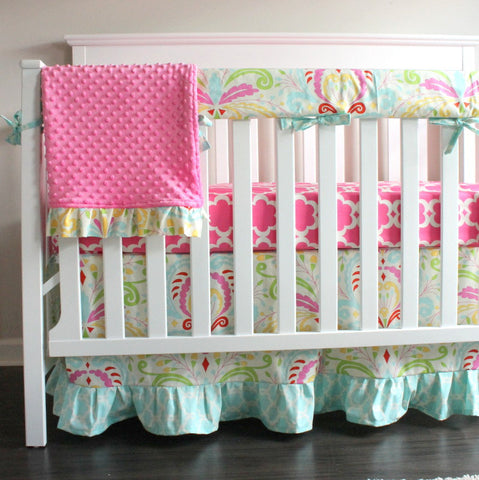 Kumari Garden Sujata Floral Bumperless Girl Crib Rail Bedding Set