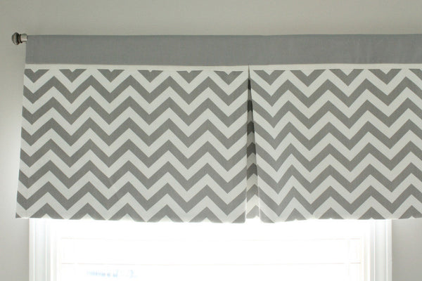 "48"" to 72"" Custom Gray chevron Box Pleat Valance. You pick accent color."
