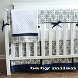 Navy Blue and Gray Crib Rail Bedding Set