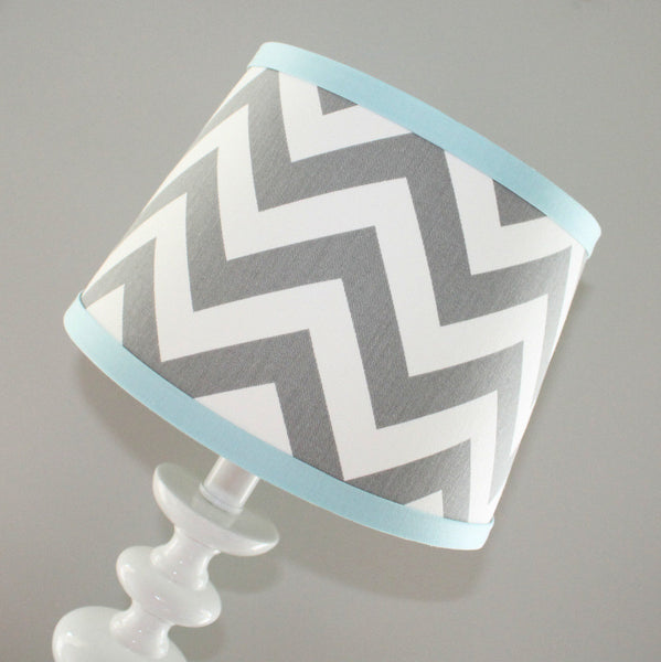 Gray & Light Blue Chevron lamp shade
