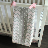 Pink and Gray Chevron Custom Made Diaper Stacker