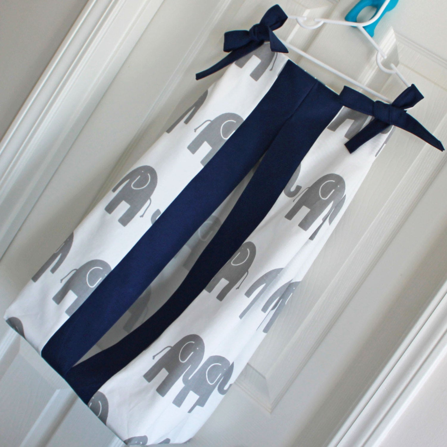 Gray Elephant and navy custom Made Diaper Stacker