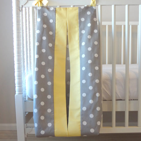 Gray and Yellow dot Custom Made Diaper Stacker