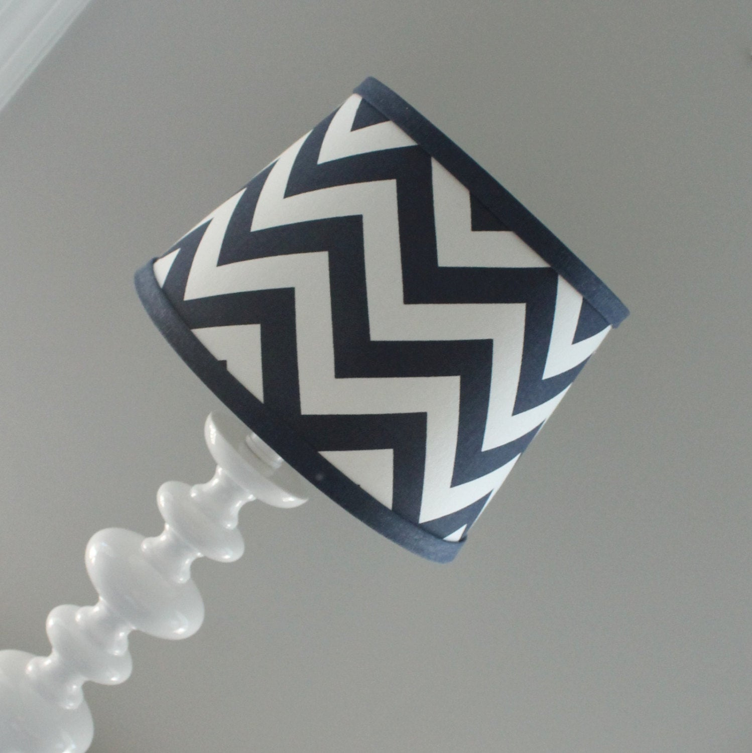 Navy & White Chevron lamp shade