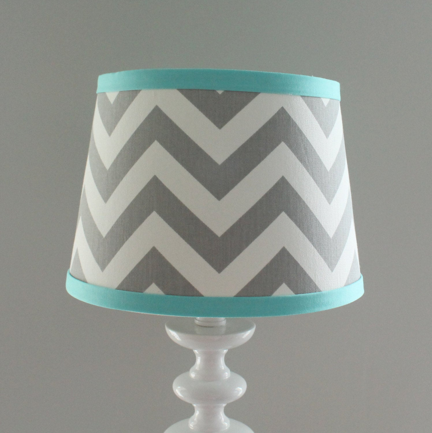 Gray & Aqua Chevron Lamp Shade