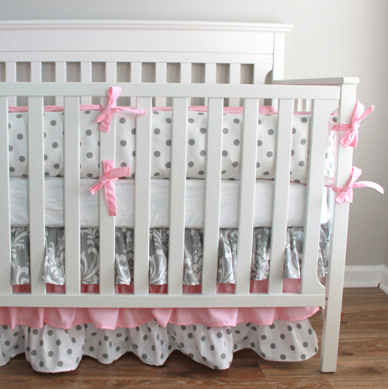 Pink and Gray Damask Crib Bedding set with 3 Tiered skirt