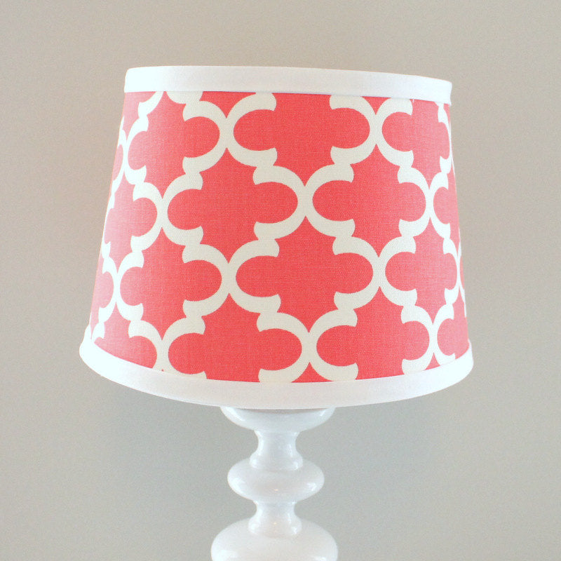 Small White and Coral print lamp shade.  Other colors available.
