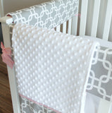Bumperless Gray & Pink Gotcha Crib Rail Bedding set.