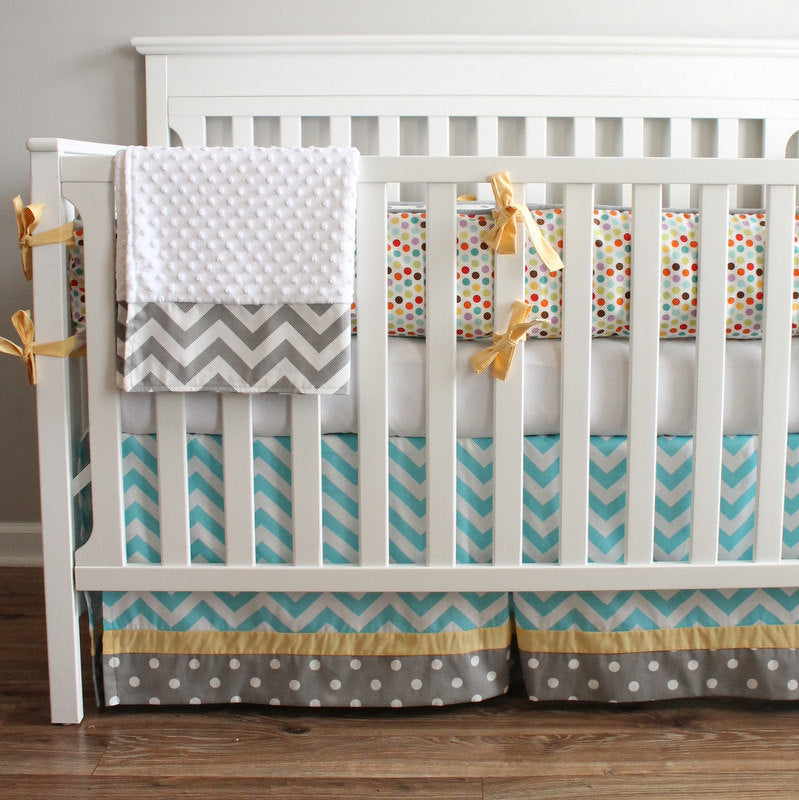 Chevron blue and yellow crib Bumper bedding collection.