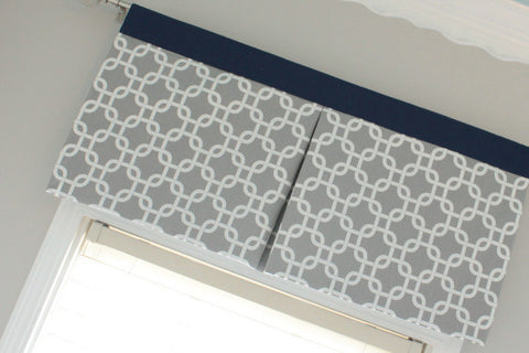 Custom nursery  Gray Gotcha Box Pleat valance with Navy accent. Available in other collections.