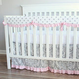 Gray Pink Damask Scallop ruffled Crib Rail Bedding set.