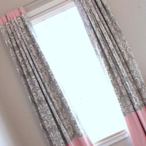 "Pink and Gray Damask Custom Drapery Panels 84"" long.  Other colors available"