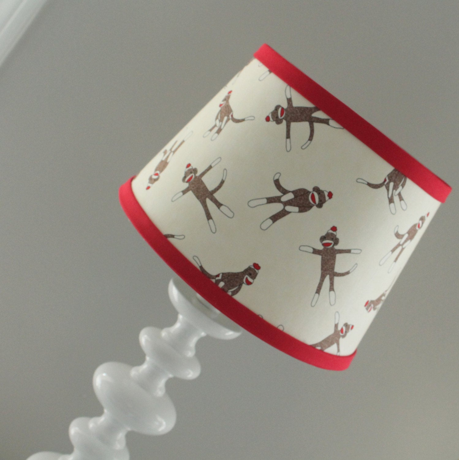 Red Sock Monkey Lamp Shade