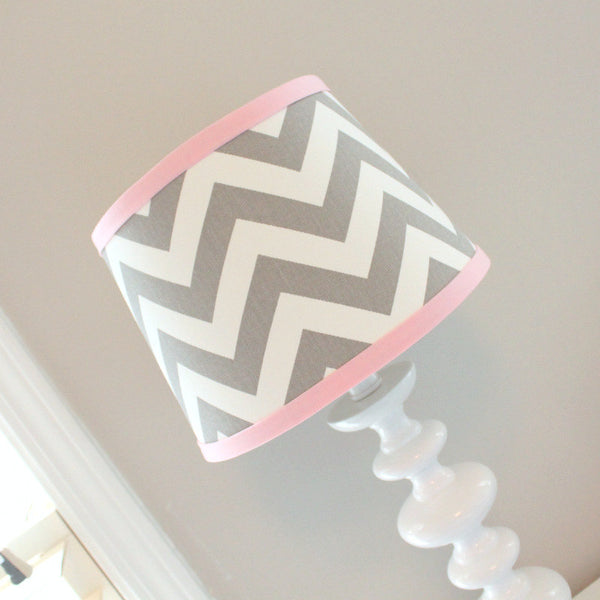 Gray & Pink Chevron Lamp Shade