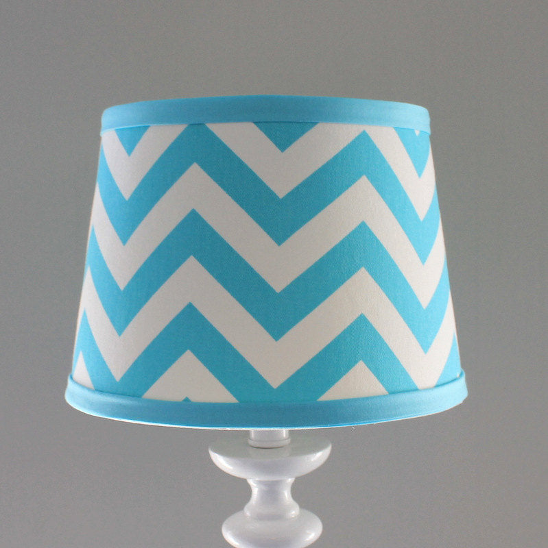 Aqua and white Chevron lamp shade.