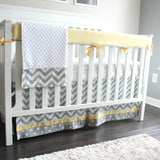 Chevron Gray and yellow bumperless crib rail bedding collection.