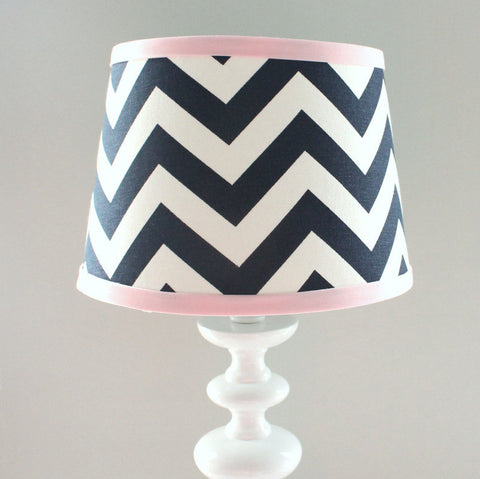 Navy Blue & Pink Chevron Lamp Shade