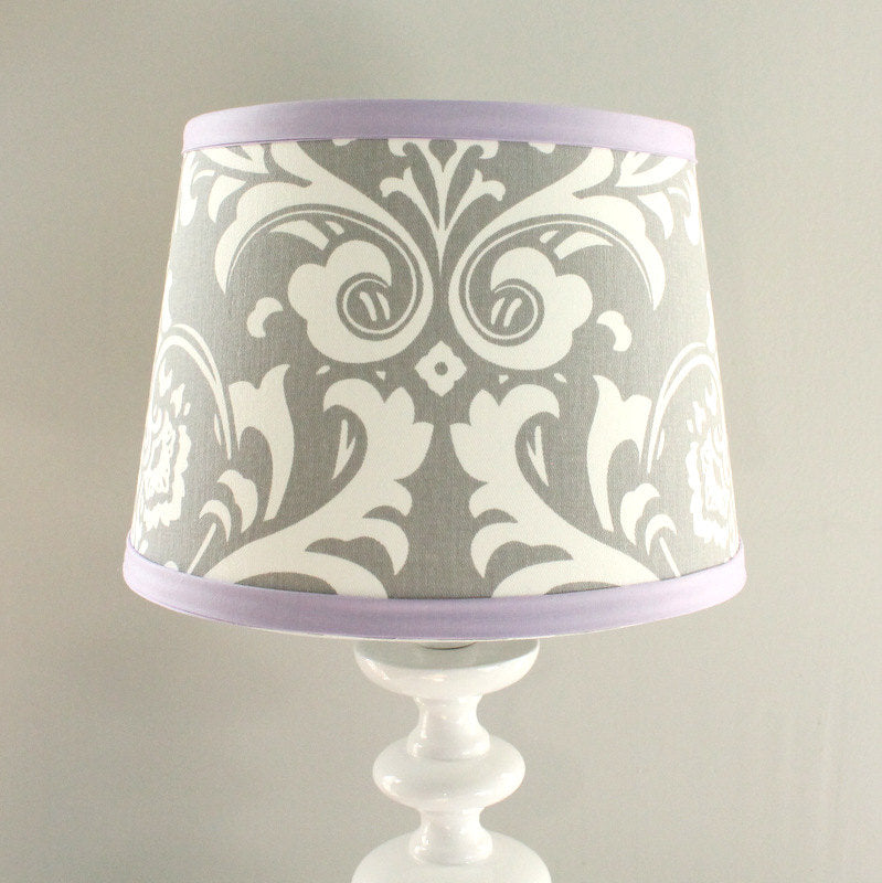 Lavender and Gray Damask Lamp Shade