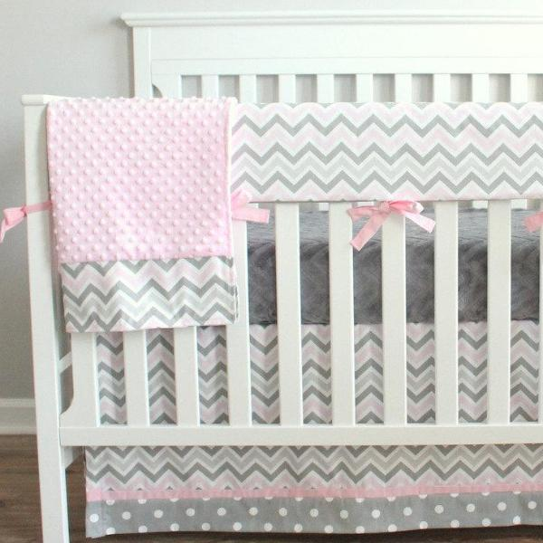 Pink and Gray Chevron Crib Rail Bedding collection