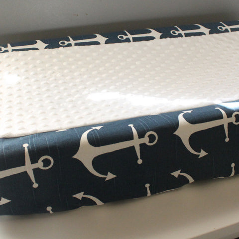 Blue & White Anchor Contour Changing pad cover.
