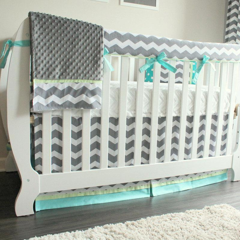 Charcoal Chevron blue and green Crib Set