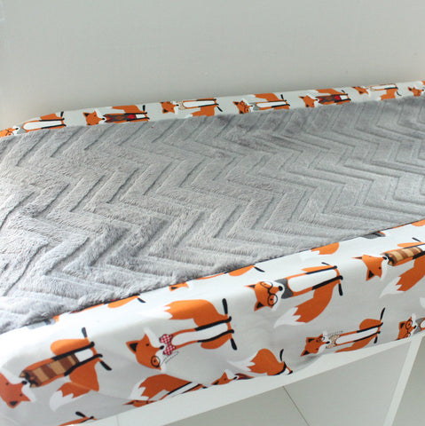 Fox Dapper Charcoal minky contour cover