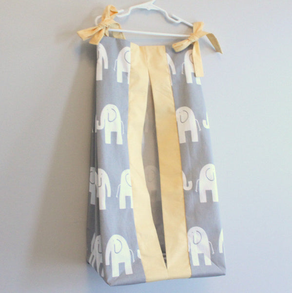 Gray Elephant and Yellow custom Made Diaper Stacker