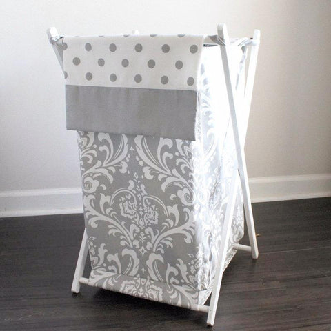 White and Gray Damask with gray accent Custom Nursery Hamper Cover