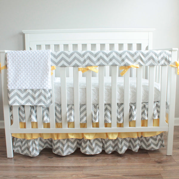 Gray Chevron Yellow Crib Rail Bedding Set