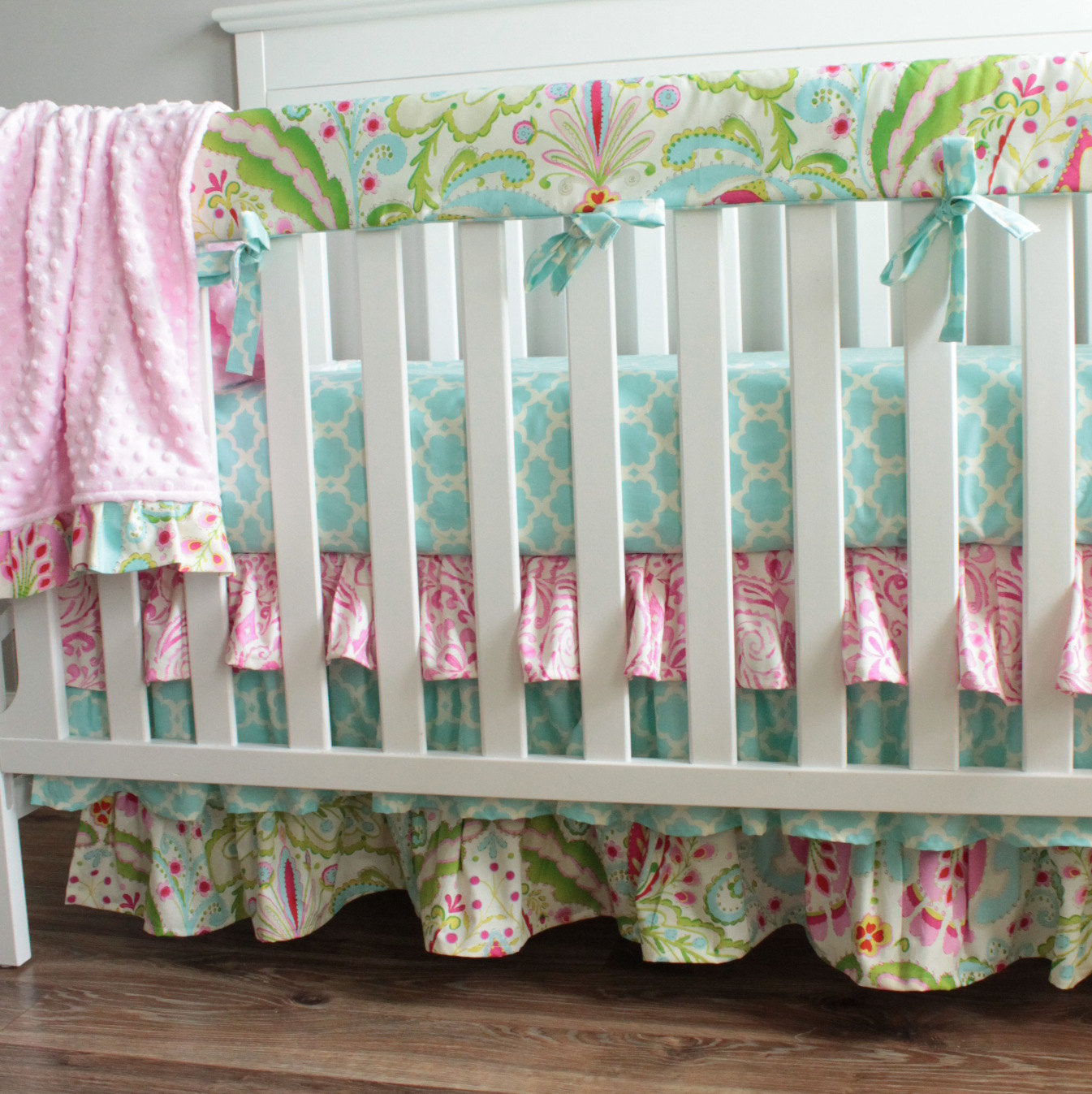 Kumari Garden Teja Bumperless Crib Rail bedding Set