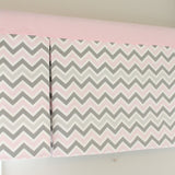Pink and gray Box Pleat valance. Available in other collections.