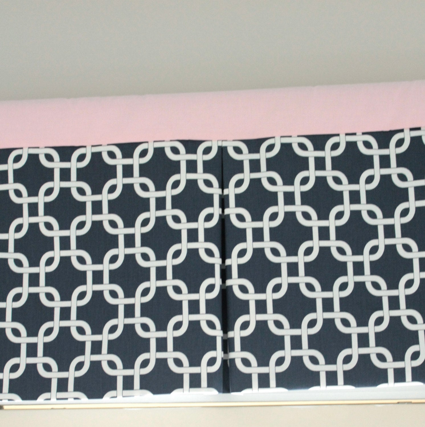 Navy Blue Gotcha and Pink Box Pleat valance. Available in other collections.