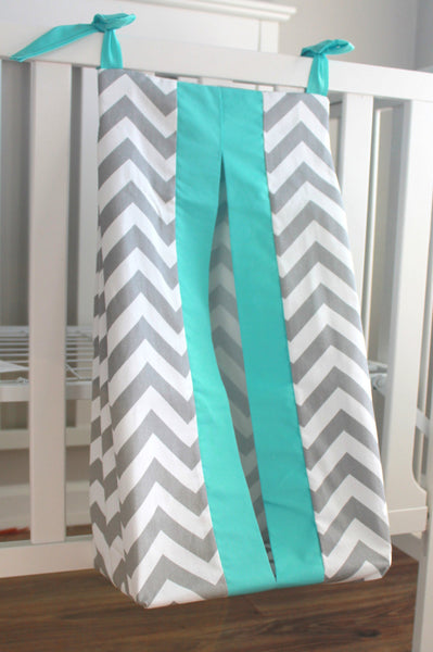 Gray Chevron with accent Aqua Diaper Stacker. Other colors available.