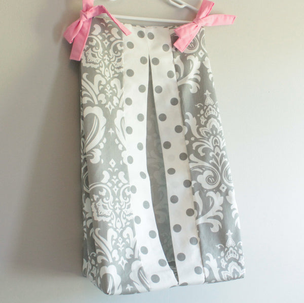 White and Gray Damask polka dot with accent pink Diaper Stacker holder
