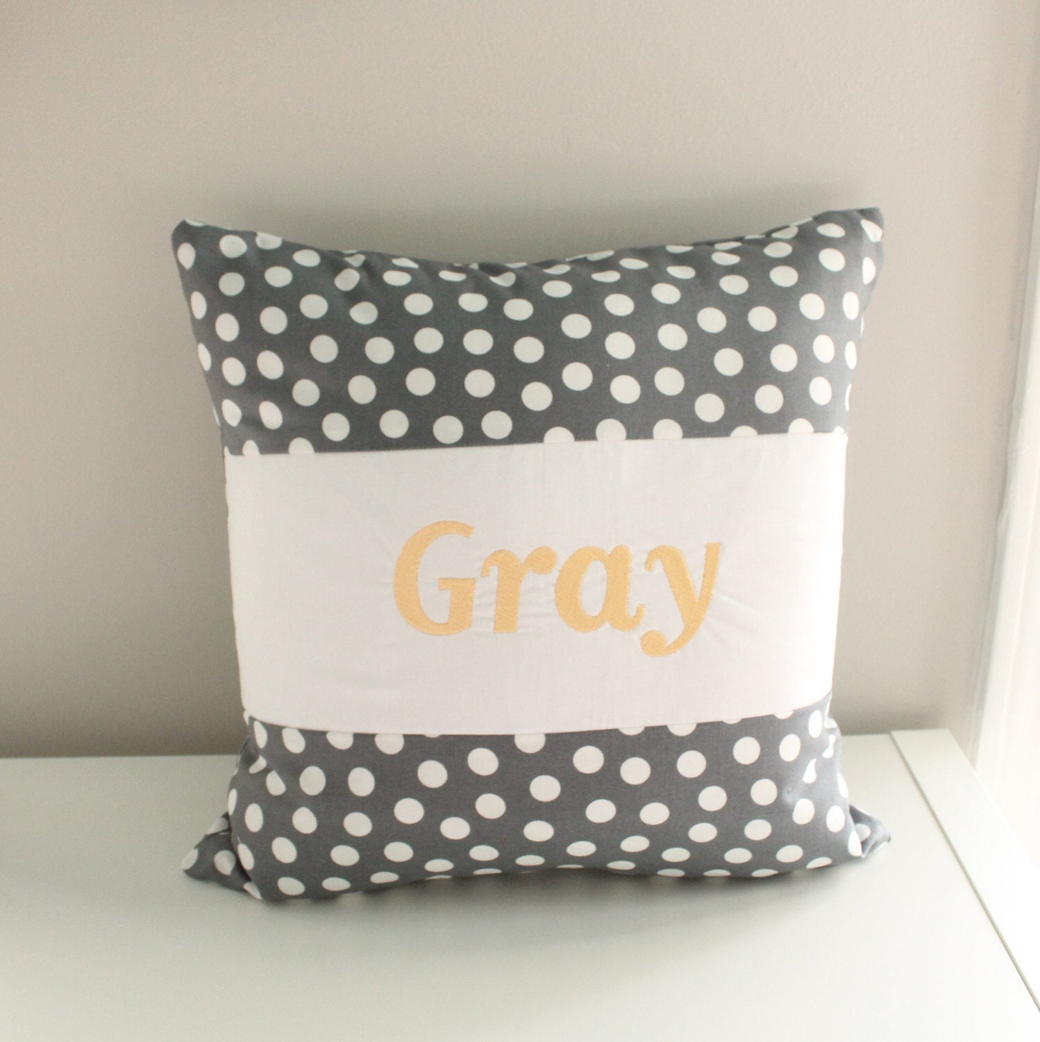 White and gray Custom Nursery pillow with monogram